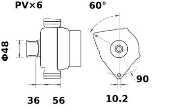 Генератор AAN5316 (MG 578, 11.204.157, IMA304157) - схема