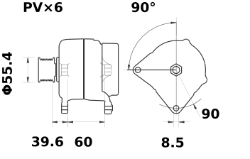 Генератор AAK5543 (MG 555, 11.203.312, IMA303312) - схема
