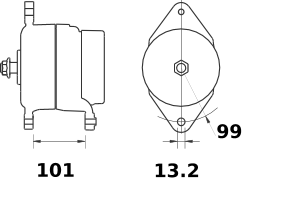 Генератор AAN5318 (MG 575, 11.204.159, IMA304159) - схема