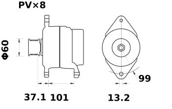 Генератор AAN8164 (MG 484, 11.204.252, IMA304252) - схема