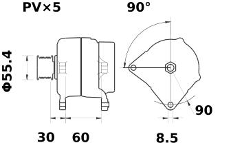 Генератор AAN5314 (MG 32, 11.204.155, IMA304155) - схема