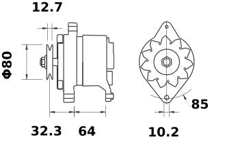 Генератор AAK3187 (MG 355, 11.203.561, IMA303561) - схема