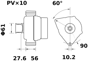Генератор AAN5334 (MG 35, 11.204.175, IMA304175) - схема