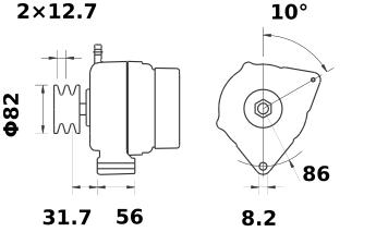 Генератор AAK5708 (MG 349, 11.203.551, IMA303551) - схема
