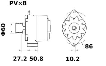 Генератор AAK3870 (MG 568, 11.204.140, IMA304140) - схема