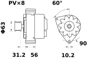 Генератор AAK1827 (MG 334, 11.203.704, IMA303704) - схема