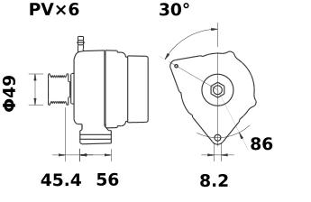 Генератор AAK5823 (MG 486, 11.204.229, IMA304229) - схема