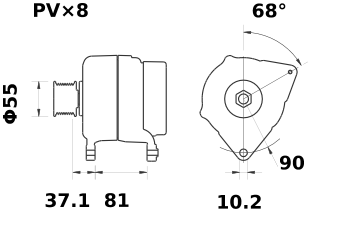 Генератор AAN5355 (MG 72, 11.204.198, IMA304198) - схема