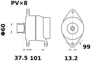 Генератор AAN5835 (MG 610, 11.204.403, IMA304403) - схема