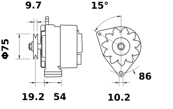 Генератор AAK4876 (MG 172, 11.204.540, IMA304540) - схема