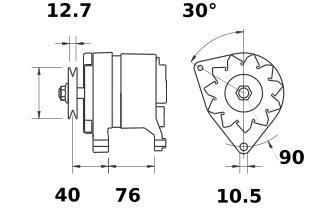 Генератор AAK3160 (MG 582, 11.209.401, IMA309401) - схема