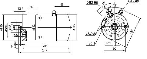 Электродвигатель AMJ5632 (MM 135, 11.212.066, IMM302066) - схема