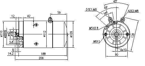 Электродвигатель AMJ5649 (MM 65, 11.212.085, IMM302085) - схема