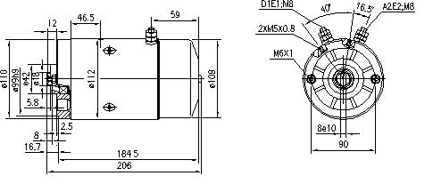 Электродвигатель AMJ5653 (MM 206, 11.212.089, IMM302089) - схема