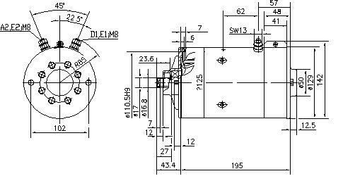Электродвигатель AMK5615 (MM 89, 11.212.188, IMM302188) - схема