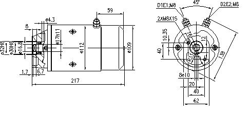 Электродвигатель AMJ5560 (MM 90, 11.212.331, IMM302331) - схема