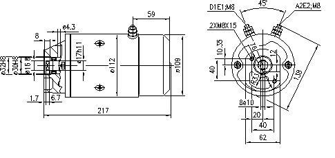 Электродвигатель AMJ5561 (MM 264, 11.212.335, IMM302335) - схема