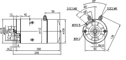 Электродвигатель AMJ5133 (MM 308, 11.212.570, IMM302570) - схема