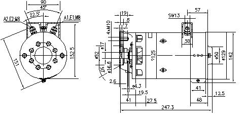 Электродвигатель AMK3303 (MM 263, 11.212.591, IMM302591) - схема