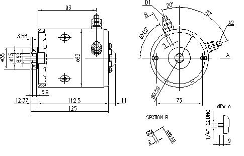 Электродвигатель AMF4634 (11.212.599, IMM302599) - схема