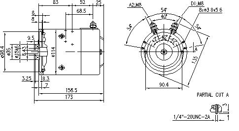 Электродвигатель AMJ4664 (MM 182, 11.212.622, IMM302622) - схема