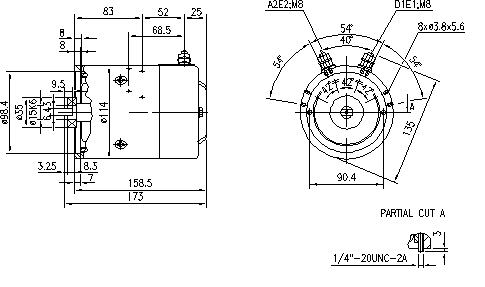 Электродвигатель AMJ5183 (MM 221, 11.212.624, IMM302624) - схема