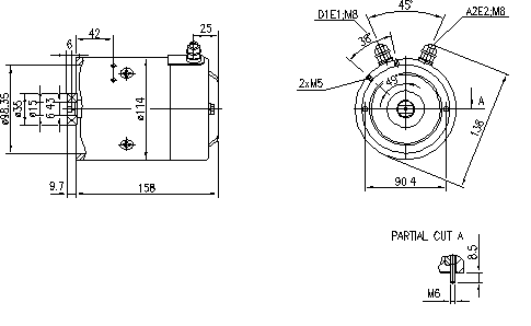 Электродвигатель AMJ5222 (MM 313, 11.212.633, IMM302633) - схема