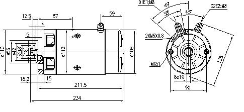 Электродвигатель AMJ5233 (MM 232, 11.212.855, IMM302855) - схема