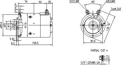 Электродвигатель AMJ5266 (MM 272, 11.212.936, IMM302936) - схема
