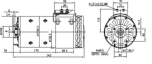 Электродвигатель AMP5610 (MM 190, 11.214.210, IMM304210) - схема