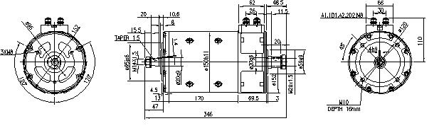 Электродвигатель AMP4663 (MM 281, 11.214.242, IMM304242) - схема