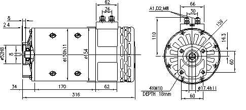 Электродвигатель AMP4632 (MM 116, 11.214.255, IMM304255) - схема