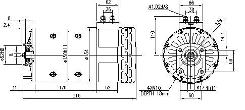 Электродвигатель AMP4633 (MM 302, 11.214.257, IMM304257) - схема