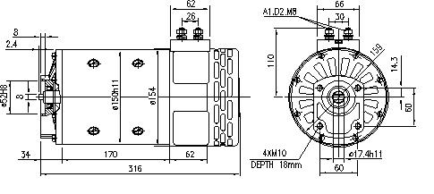 Электродвигатель AMP4634 (MM 83, 11.214.258, IMM304258) - схема