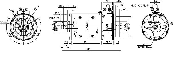 Электродвигатель AMP4636 (MM 154, 11.214.260, IMM304260) - схема