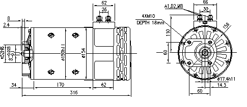 Электродвигатель AMP4661 (MM 67, 11.214.269, IMM304269) - схема