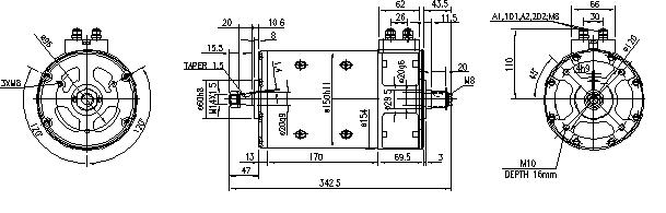 Электродвигатель AMP4651 (MM 158, 11.214.277, IMM304277) - схема