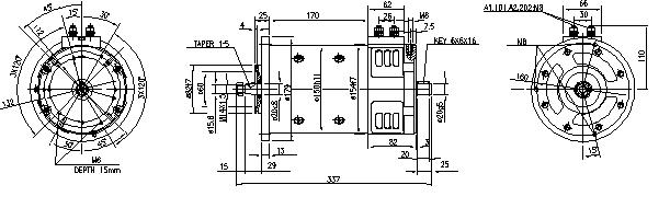 Электродвигатель AMP4655 (MM 95, 11.214.285, IMM304285) - схема