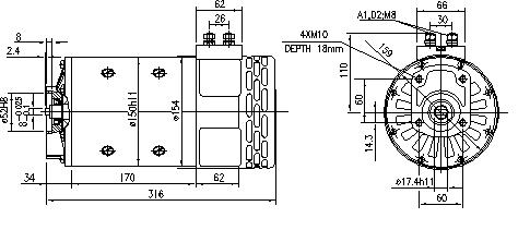 Электродвигатель AMP4657 (MM 266, 11.214.289, IMM304289) - схема