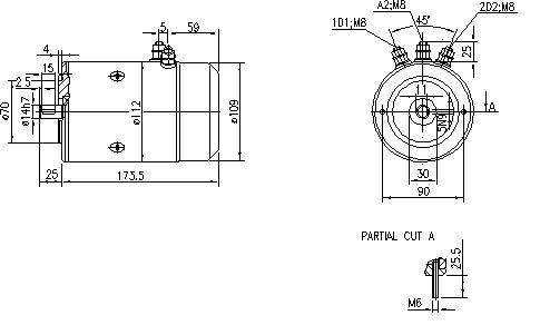 Электродвигатель AMJ4725 (MM 76, 11.216.049, IMM306049) - схема