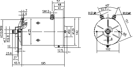 Электродвигатель AMK5503 (MM 173, 11.216.105, IMM306105) - схема