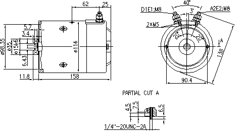 Электродвигатель AMJ5705 (MM 152, 11.216.117, IMM306117) - схема