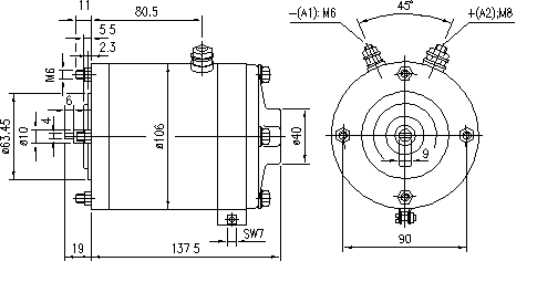Электродвигатель AMG1635 (MM 365, 11.216.129, IMM306129) - схема