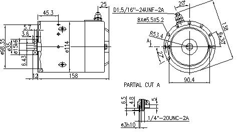 Электродвигатель AMJ4748 (MM 285, 11.216.201, IMM306201) - схема