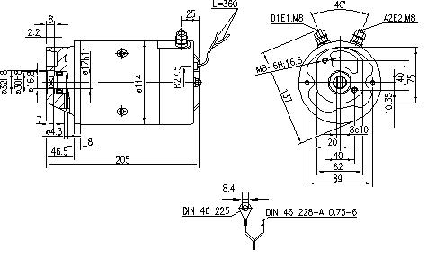 Электродвигатель AMJ5717 (MM 282, 11.216.204, IMM306204) - схема