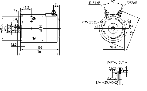 Электродвигатель AMJ5719 (MM 132, 11.216.207, IMM306207) - схема