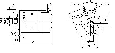 Электродвигатель AMJ5721 (MM 160, 11.216.209, IMM306209) - схема