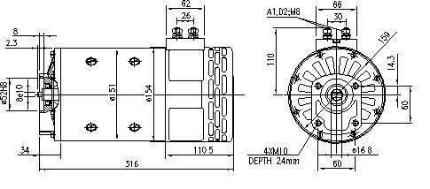 Электродвигатель AMP4537 (MM 126, 11.216.755, IMM306755) - схема