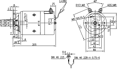 Электродвигатель AMJ5723 (MM 143, 11.216.211, IMM306211) - схема