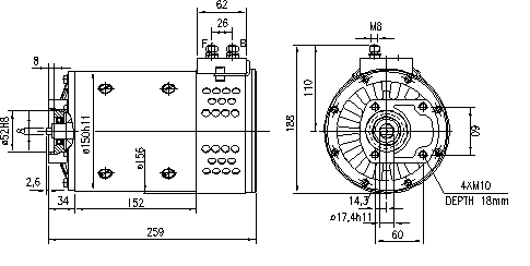 Электродвигатель AMP5614 (MM 149, 11.216.245, IMM306245) - схема